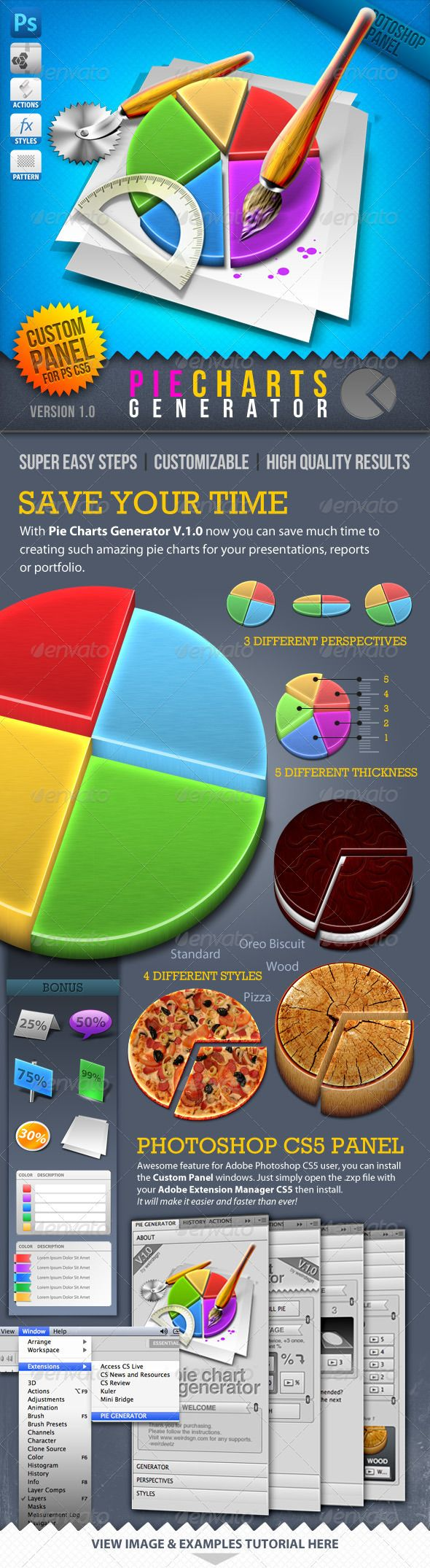 Beautiful and cheap infographics tool series: 3d pie chart generator for photoshop. Include 4 different styles: standard, oreo biscuit, wood, pizza.