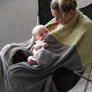 Cotton TRI-moss knit blanket . lemon . bear .