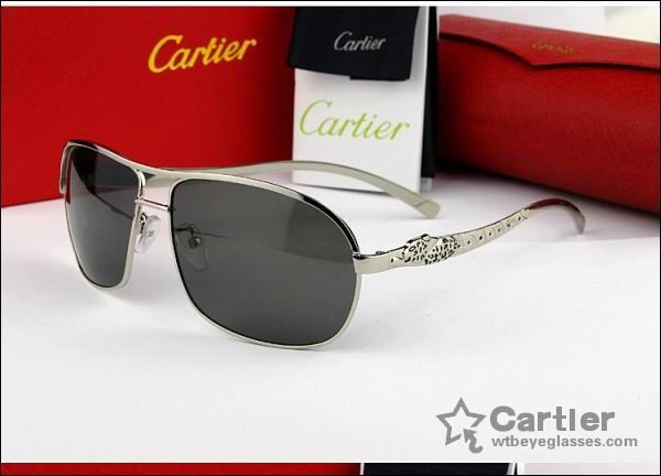 b5d5455ffd leopard carved - silver frame grey lenses cartier sunglasses ...