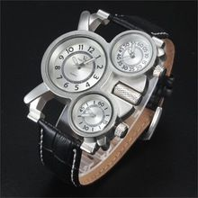 Military Watches V6 Square Multi Time Zone Men Sports Watches Luxury Relogio leather Strap Three movement Casual Wristwatches