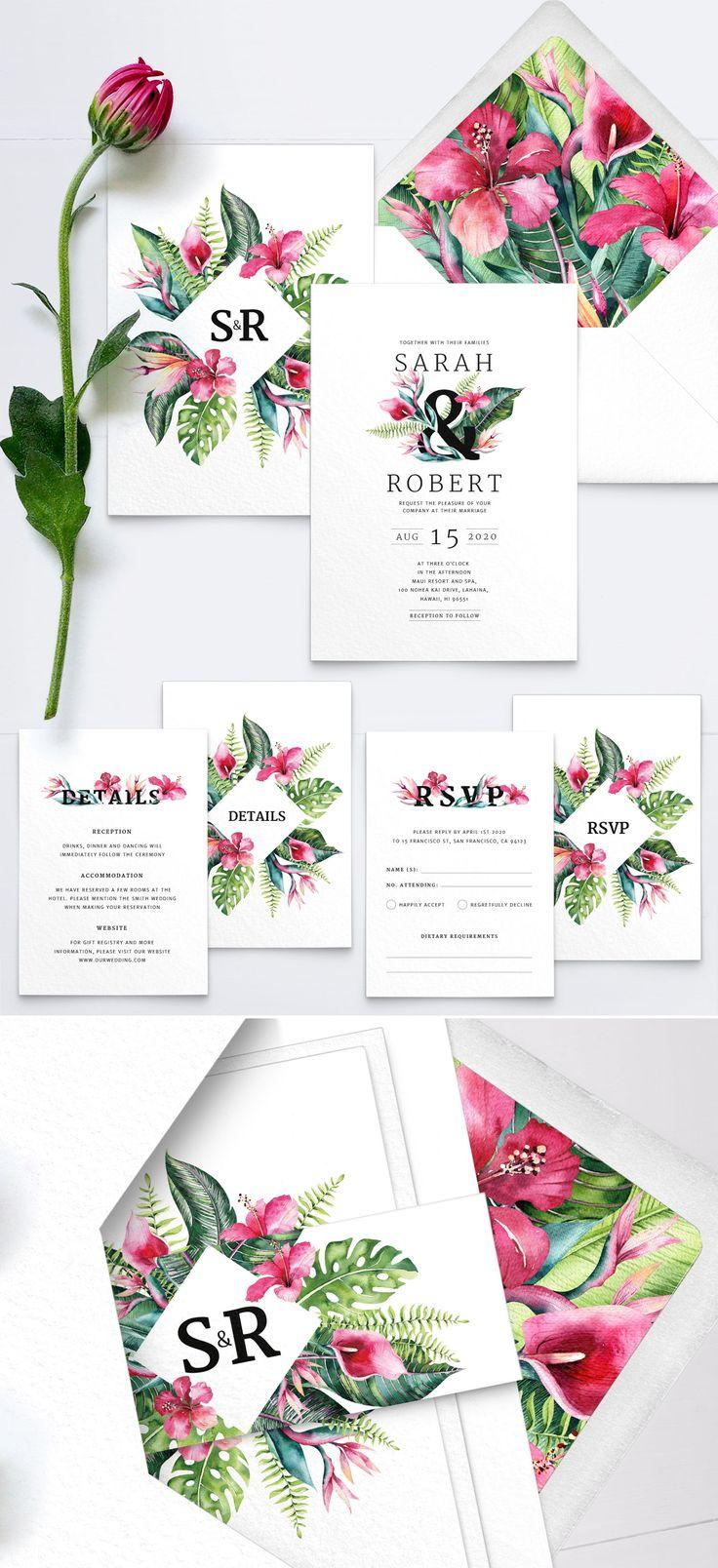 Destination Wedding Invitation Set, Tropical Wedding Invitation, Floral Beach Wedding Invitations – PRINTED on luxury Italian paper