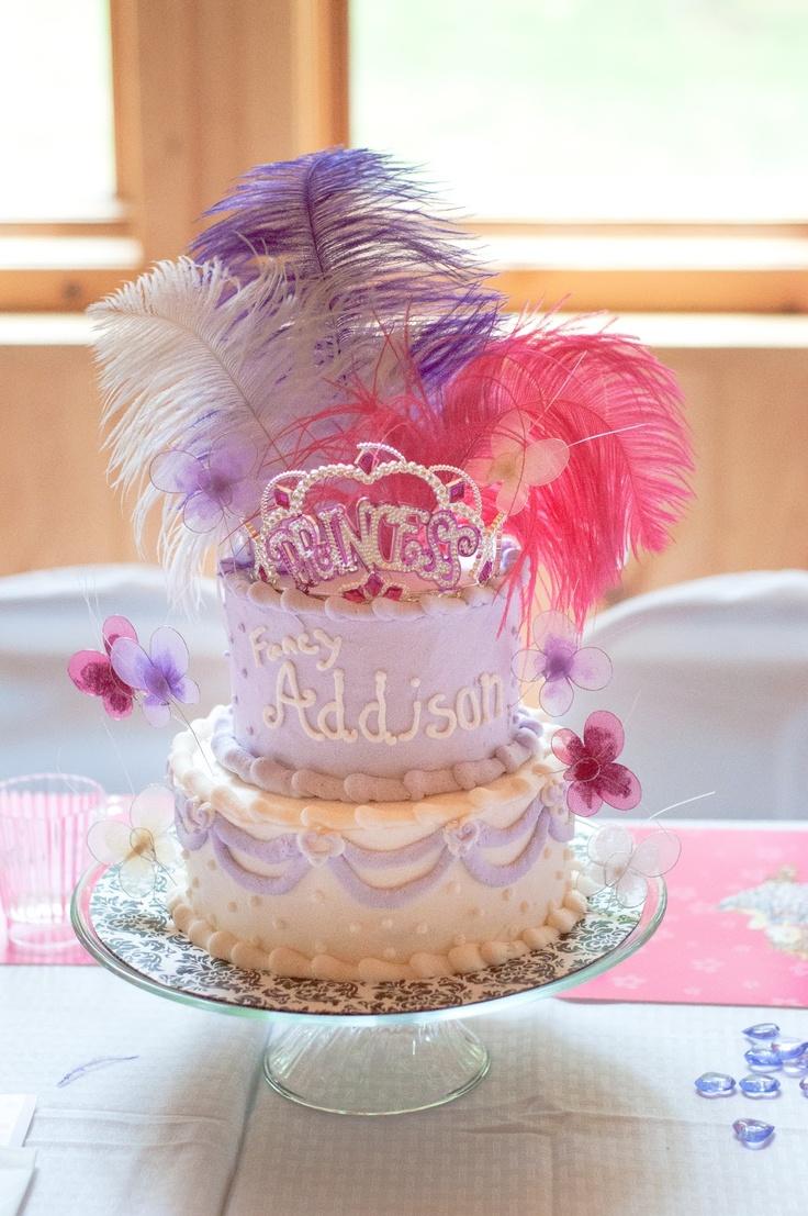 Fancy Nancy Cake~ like the feather/crown topper idea