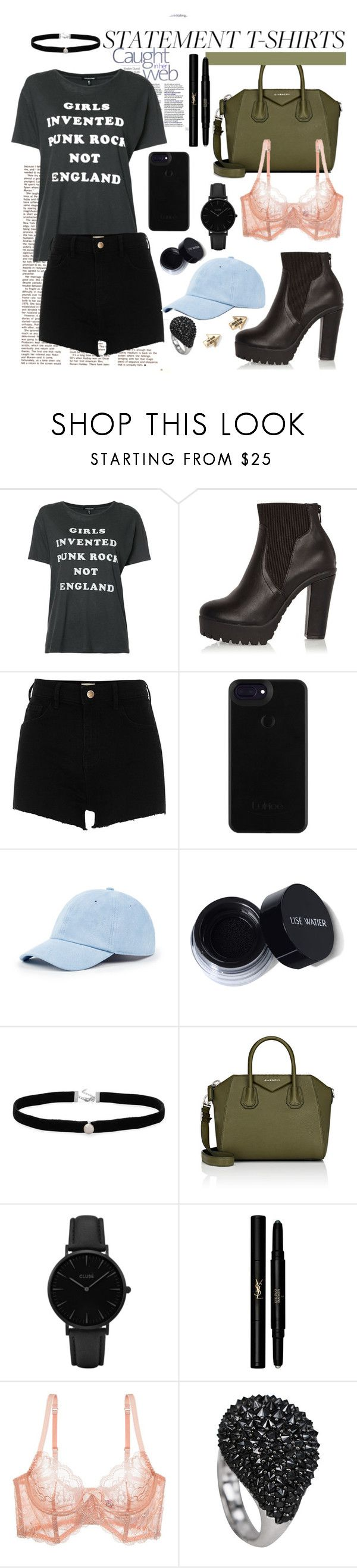 """""""Angsty   Statement Tshirts"""" by jessica-gonzatto ❤ liked on Polyvore featuring R13, River Island, Sole Society, Amanda Rose Collection, Givenchy, CLUSE, Yves Saint Laurent, L'Agent By Agent Provocateur and Aéropostale"""