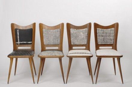 Draga Obradovic tasarımı el boyaması tekstillerle giydirilmiş sandalyeler
