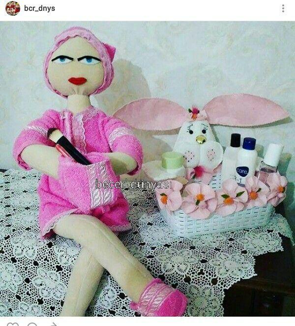 Banyo dekorasyonu için bez bebek,tavşan kutu
