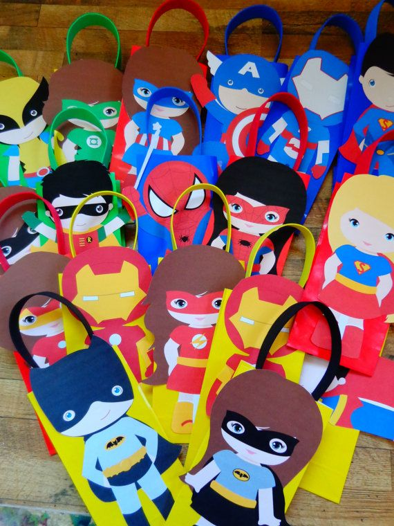 Super Heros Favor Bags Full body by SweetCreationsbySu on Etsy