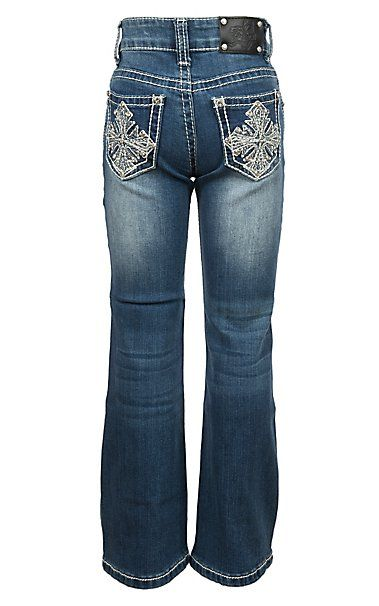 Wired Heart Girls Cross Embroidered Crystal Boot Cut Jeans ... b0f4077e226