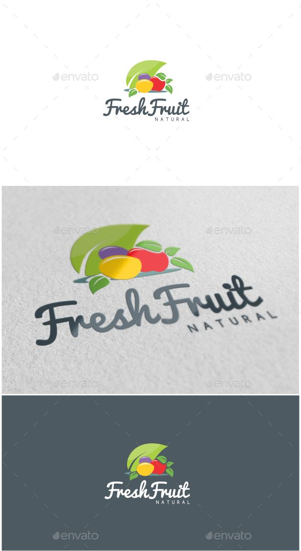 Fresh Fruit Logo - Food Logo Templates Download here : https://graphicriver.net/item/fresh-fruit-logo/18689643?s_rank=109&ref=Al-fatih