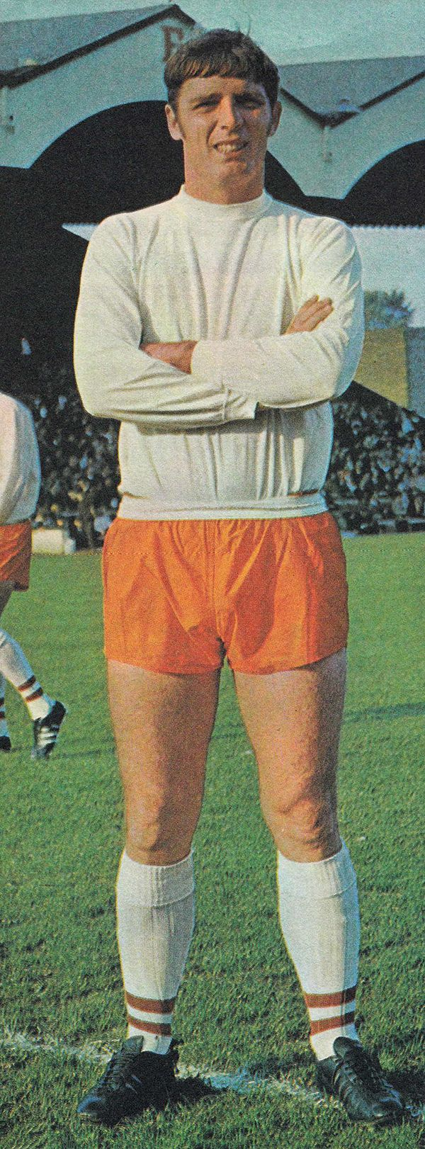 1st November 1969. Blackpool and England centre forward Fred Pickering pictured prior the match against Charlton Athletic, at the Valley.
