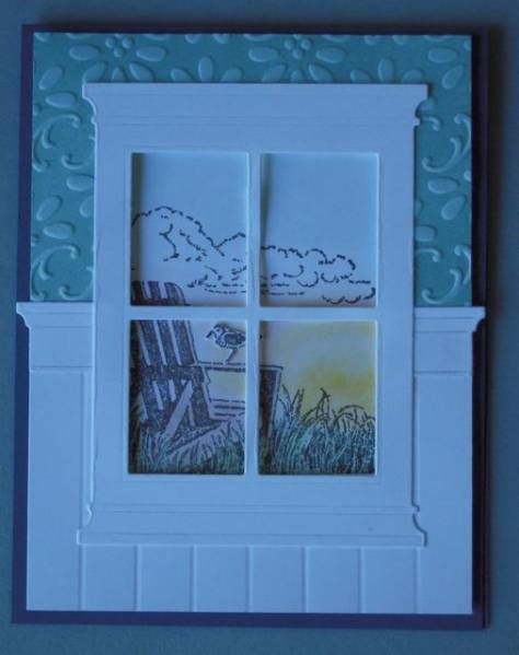 Love the Madison Window die used with this outdoor scene complete with Adirondack chair :-)Chairs Stamps, Bead Board, Beach Windows, Adirondack Chairs, Beads Boards, Outdoor Scene, Madison Windows, Paper Crafts, Flower Boxes