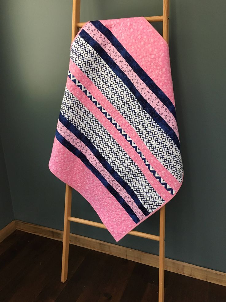 Modern Anchor Baby Quilt- Handmade- Blue- Pink- Chevron- Nursery Quilt by HeatherBQuilts on Etsy https://www.etsy.com/listing/547067950/modern-anchor-baby-quilt-handmade-blue
