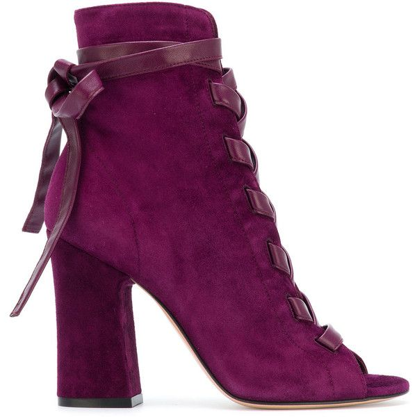 Gianvito Rossi lace-up block heel sandals ($1,110) ❤ liked on Polyvore featuring shoes, sandals, purple shoes, lace up shoes, block-heel shoes, pink shoes and pink sandals
