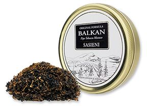 We Now Offer Balkan Sasieni Pipe Tobacco! ~   The Sasieni Pipe Tobacco Mixture was created by London's Master of Tobacco Blenders decades ago with the choicest Macedonia and Latakia leaf and rich Virginias. Today, Balkan Sasieni is blended by Scandinavian Tobacco Group in Denmark and is nearly identical  Macedonia Orientals, pungent Latakia and golden and red Virginias. Open a tin of Balkan Sasieni and enjoy a medium strength, subtly complex smoke with rich, full tobacco taste.
