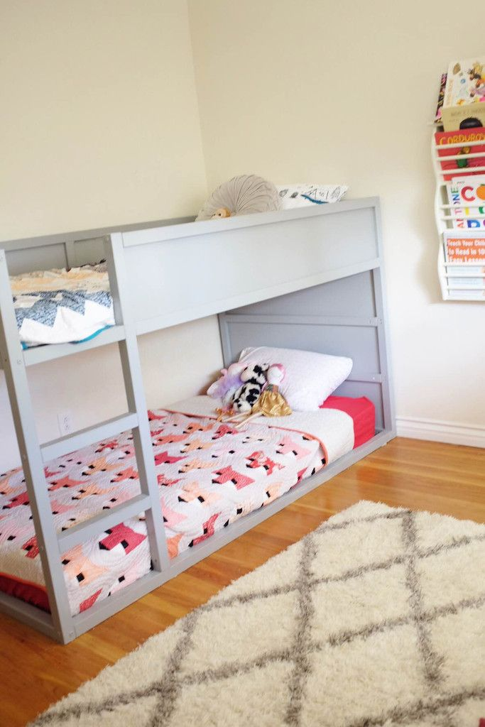 Holy moly have I get a LOT of requests about the details of the bunk beds in my kids shared...