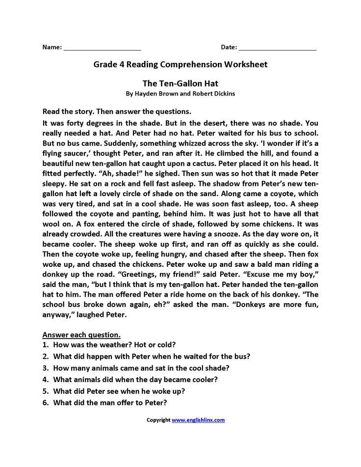 Ten Gallon Hat Fourth Grade Reading Worksheets