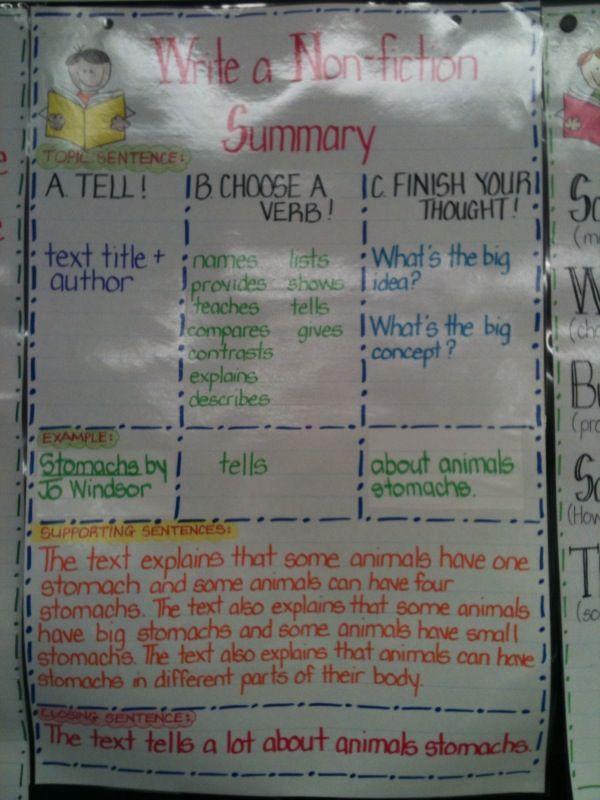 nonfiction summary chart