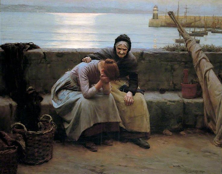 "Walter Langley  "" Never morning wore to evening but some heartbreak ""  Date painted: 1894  Oil on canvas, 122 x 152.4 cm  Collection: Birmingham Museums and Art Gallery"