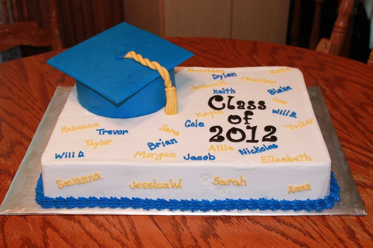 Blue and yellow graduation sheet cake Sweet Treats by Me
