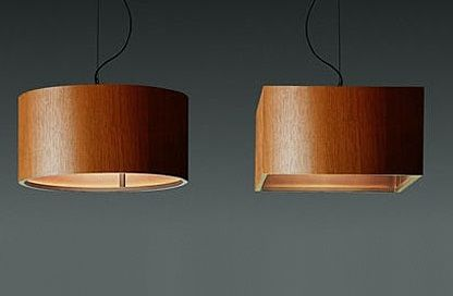 Wood Pendant Lamp by Penta Light. Round or square lamps in wood stained wengé, bleached oak or honey colour.