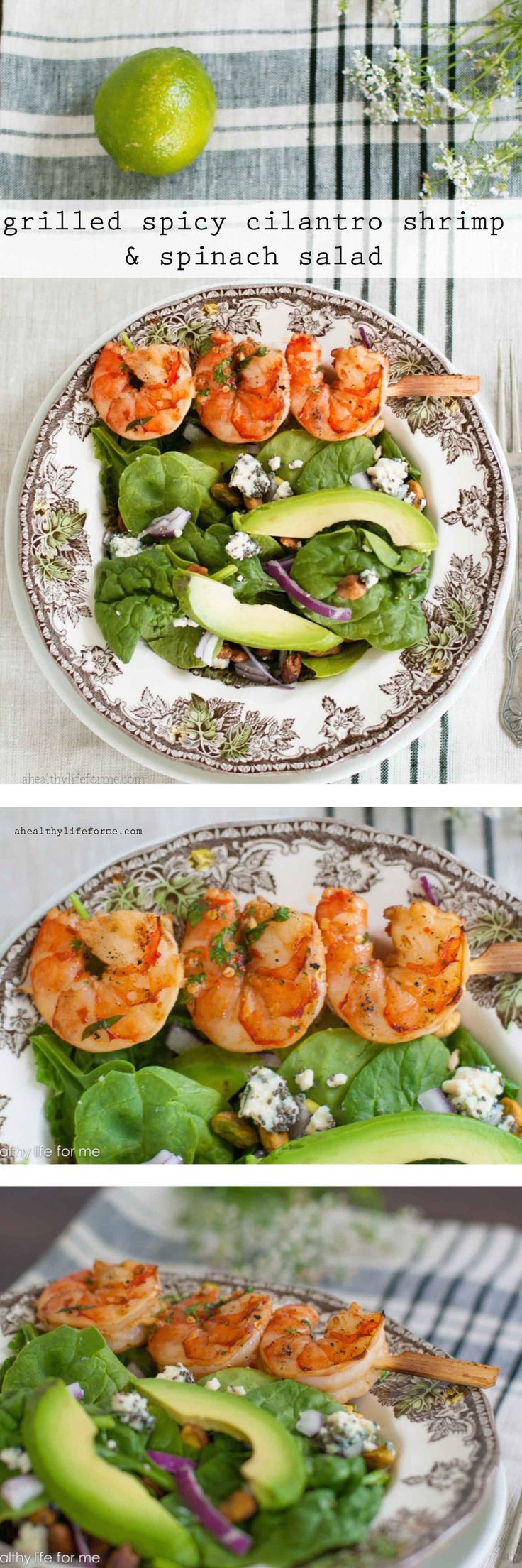 Grilled Spicy Cilantro Shrimp and Spinach Salad - A Healthy Life For Me