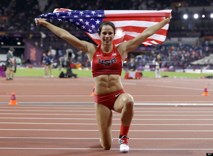 United States' Jennifer Suhr celebrates her gold medal win in the women's pole vault during the athletics in the Olympic Stadium at the 2012 Summer Olympics, London, Monday, Aug. 6, 2012.