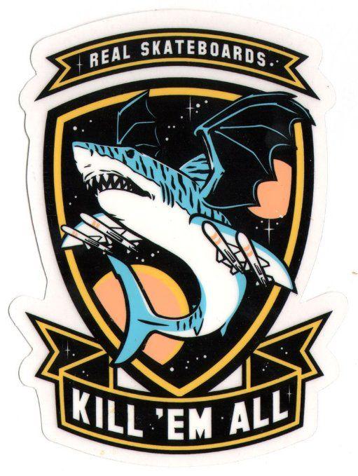 Real Skateboards - Kil 'em All Skateboard Sticker - 13cm high approx shark