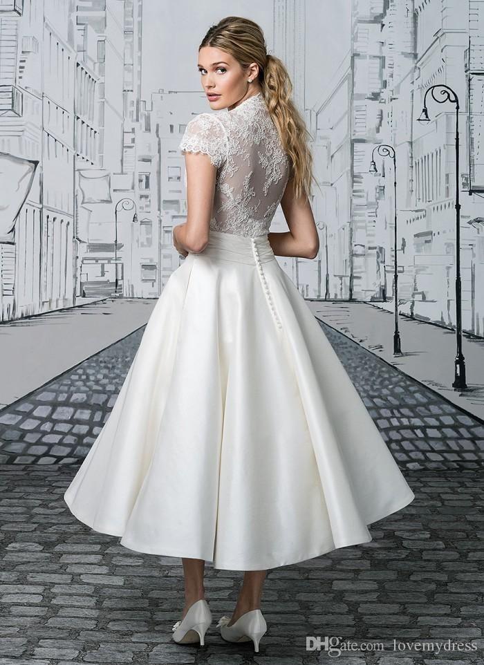 Short Wedding Dress Tea Length White Appliques Elegant Short Sleeve Deep V Neck Bottons Cheap Summer Garden Bridal Gowns Fashionable Wedding Dress With Lace Wedding Dresses Designer From Lovemydress, $106.74  DHgate.Com
