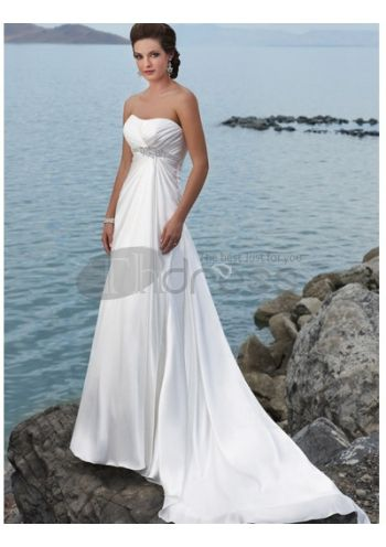 Abiti da Sposa Spiaggia-Straples principessa empire beach taffettà abiti da sposa spiaggia