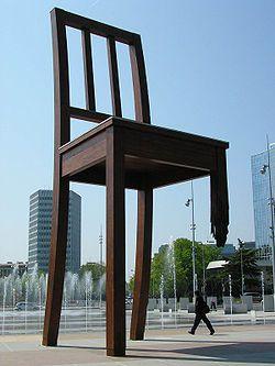 Broken Chair Sculpture in Geneva, #Switzerland - symbolizes Handicap International. I work near here.