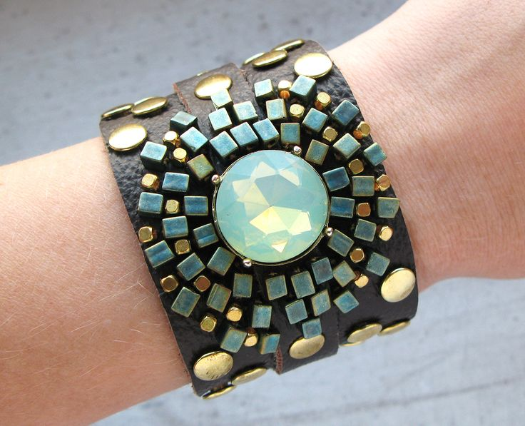Brown/Mint leather bracelet with rivets.