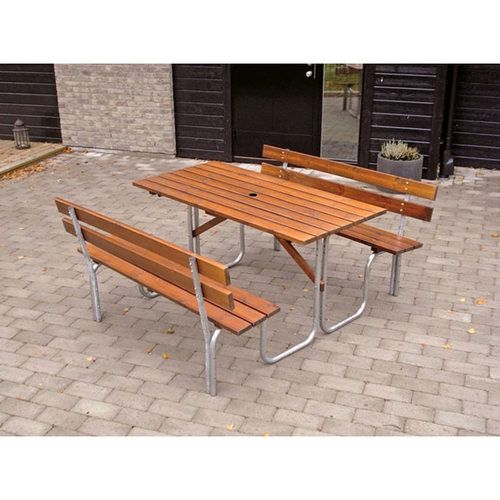 Ideal for schools, commercial and industrial settings. A steel tube and lacquered timber 6 seat picnic table. Free UK delivery.