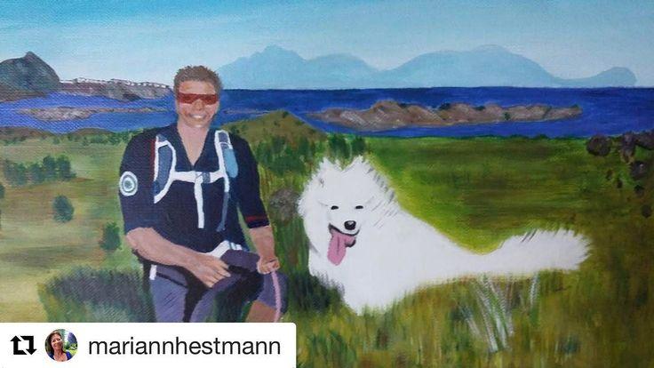 Gratulerer med dagen! #reisetips #reiseliv #reiseblogger #reiseråd  #Repost @mariannhestmann with @repostapp  Gratulerer med 50 års dagen til min bror #torbjørnw67#acrylart #lofoten #50årsdag #kunst #fjellbilde #samojed#verdensvakrestebrukshund#hikingwithdogs #norgeno