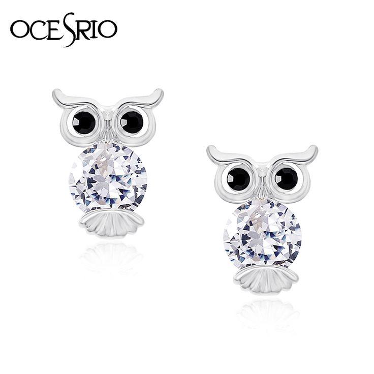 OCESRIO Cute Owl Earrings for Girls No Ear Hole Cubic Zircon Clip Earrings without Piercing Women Ear Clips Jewelry ers-j19