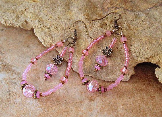 2272 best beaded earrings images on pinterest seed beads beaded pink peach chandelier earrings storybook charm by bohostyleme aloadofball Images