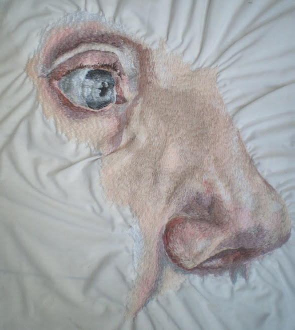 Harriet Maxwell painting with stitches. Embroidery art