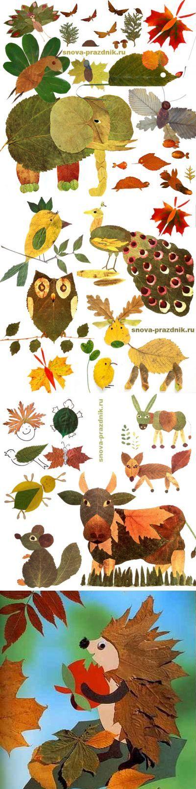 Поделки из осенних листьев: 40 идей в картинках