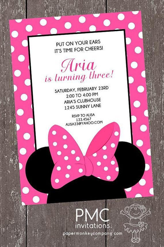 Pink and White Dots Minnie Mouse Birthday Invitation - 1.00 each with envelope on Etsy, $1.00
