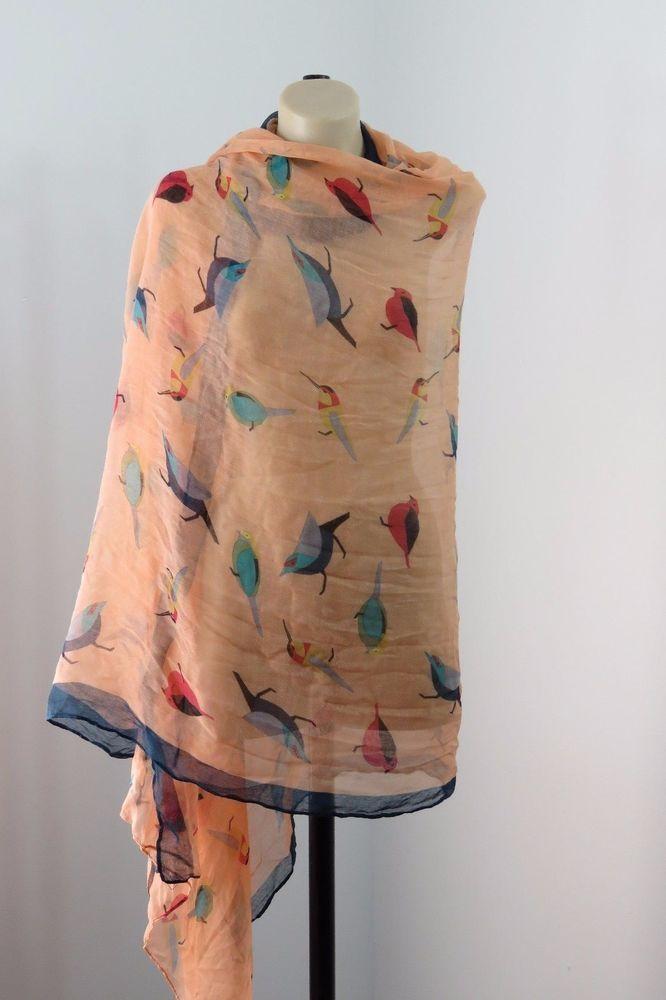 NWT Ladies Bird Scarf Wrap Beach Sarong Boho Chic Retro Layer Festival Design #RedScope #ShawlWrap