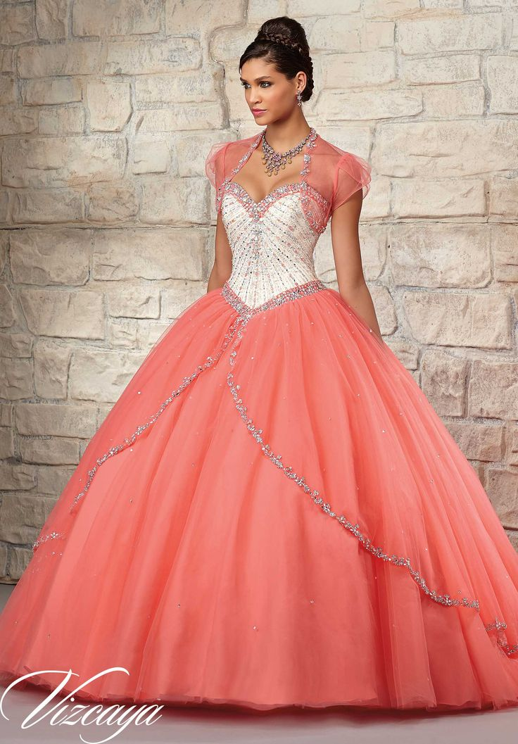 Quinceanera dresses by Vizcaya Satin and Tulle with Beading. Matching Bolero. Available in Ch/Coral, Ch/Light Purple, Ch/Blush