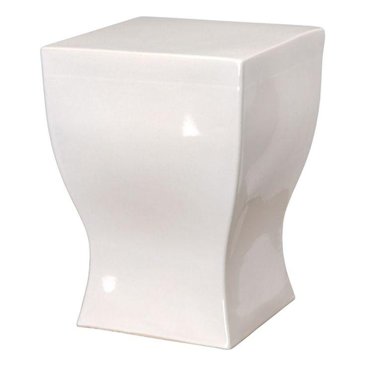 Square Curvy White Ceramic Garden Stool | Ceramic Garden Stools, White  Ceramics And Stools