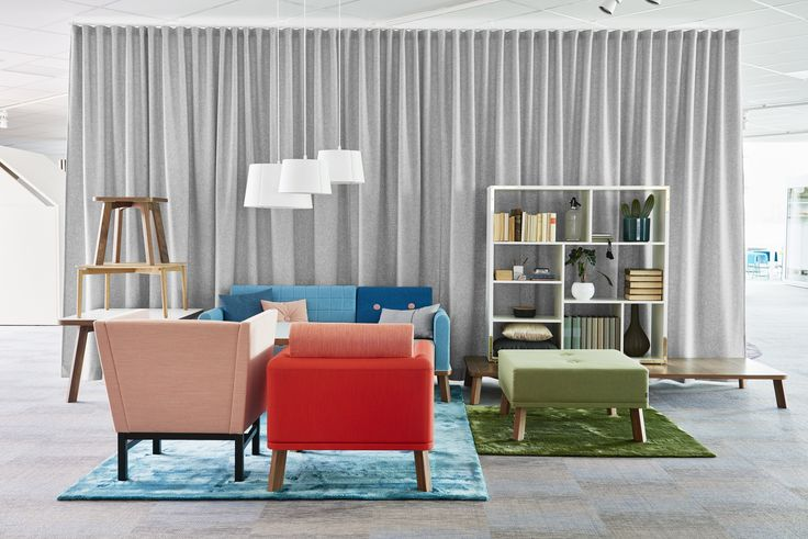 Couture bench, easy chair, sofa and room divider with stand, design: Marie Oscarsson | Minimal easy chair, design: Sandin & Bülow