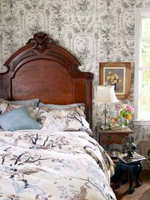 Tudor House BedroomGuest Room, Tudor House, House Guest, Decor Ideas, Antiques Beds, Bedrooms Design, Country Living, Toile Wallpapers, Comfy Blackandwhitetoileprint