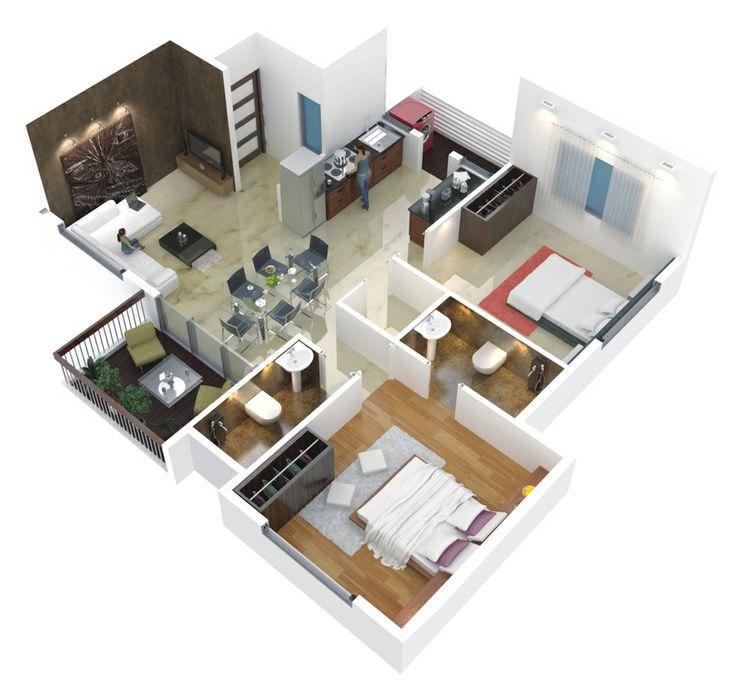 Cute apartment 3d house plans floor plans pinterest for 4 bedroom 3d floor plan