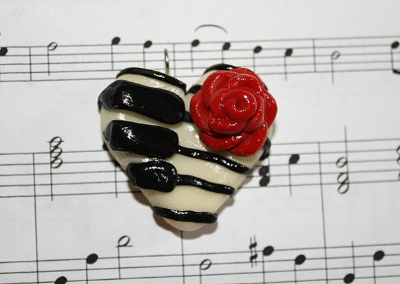 OOAK Piano Key and Red Rose Polymer Clay Heart