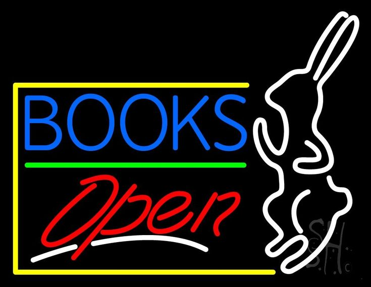 Blue Books With Rabbit Logo Open Neon Sign 24 Tall x 31 Wide x 3 Deep, is 100% Handcrafted with Real Glass Tube Neon Sign. !!! Made in USA !!!  Colors on the sign are White and Red. Blue Books With Rabbit Logo Open Neon Sign is high impact, eye catching, real glass tube neon sign. This characteristic glow can attract customers like nothing else, virtually burning your identity into the minds of potential and future customers.
