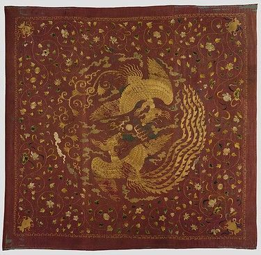 Canopy with Phoenixes and Flowers, Yuan dynasty (1271–1368), China. Silk and metallic thread embroidery on silk gauze