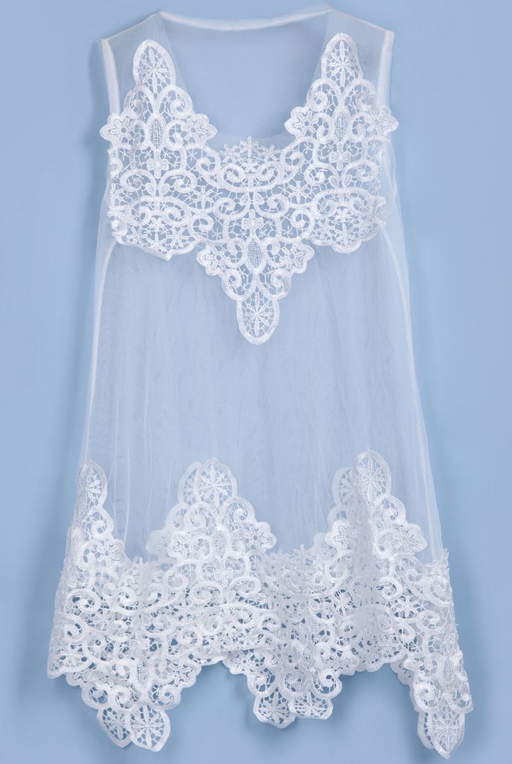 White Sleeveless Hollow Embroidery Sheer Blouse