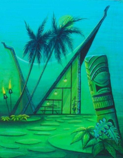 brite blue. sea green. aqua. tiki statue. palm trees. tiki torches. night scene. | RP » Tiki party