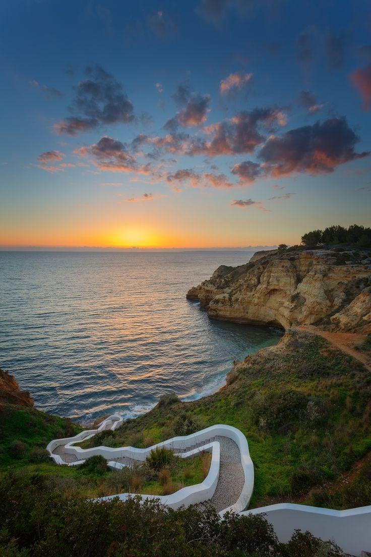 The amazing sunset at beach Carvoeiro, Algarve, Portugal