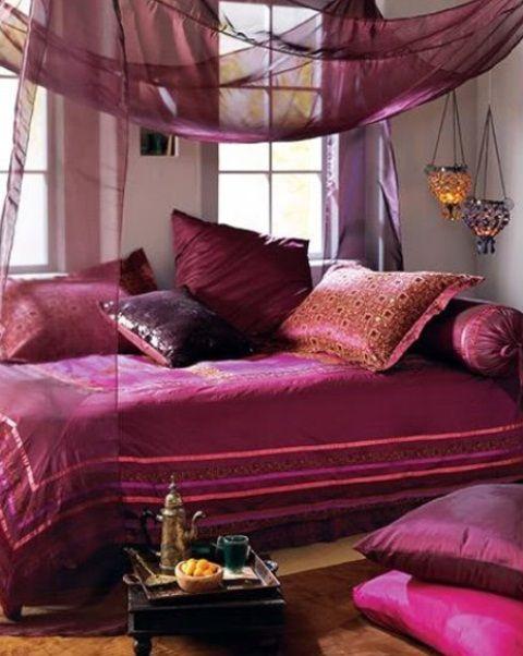 Inspiring 66 Mysterious Moroccan Bedroom Designs: 66 Mysterious Moroccan Bedroom Designs with white purple bedroom wall pillow bed blanket curtain nightstand and brown carpet chandelier window – Momtoob